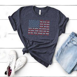 USA Flag Patriotic Names of States Unisex T-shirt